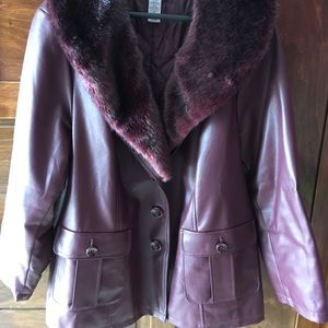 Catherines Faux Burgundy Leather Jacket with Fur